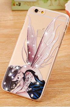 雪奈儿iPhone 6彩绘水钻手机壳