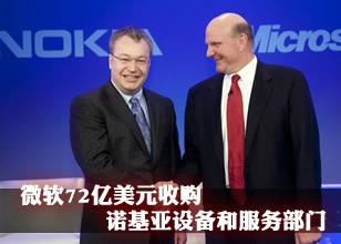 微软72亿美元收购诺基亚设备和服务部门